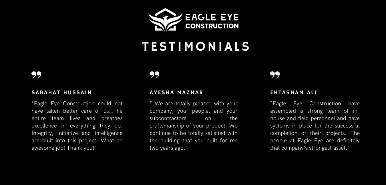 Eagle Eye Construction Testimonials
